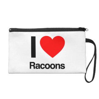 i love racoons wristlet clutch