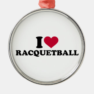 I love Racquetball Silver-Colored Round Decoration