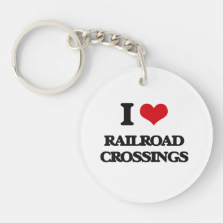 I Love Railroad Crossings Key Ring