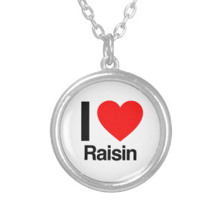 i love raisin silver plated necklace