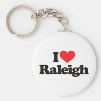 I Love Raleigh Basic Round Button Key Ring