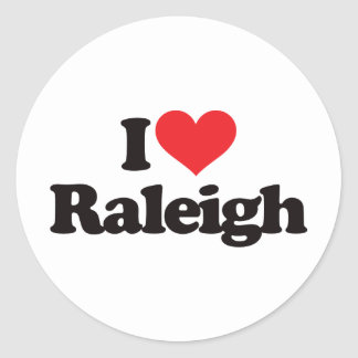 I Love Raleigh Round Sticker