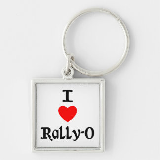 I Love Rally-O Silver-Colored Square Key Ring