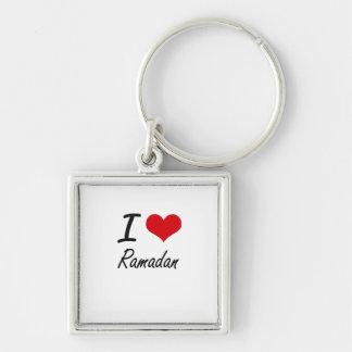 I Love Ramadan Silver-Colored Square Key Ring