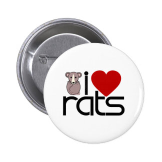 I Love Rats 6 Cm Round Badge