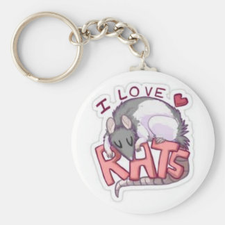 i love rats basic round button key ring