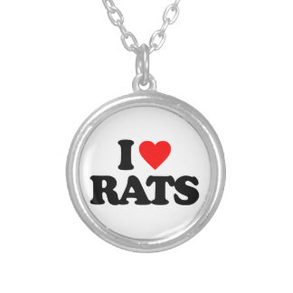 I LOVE RATS SILVER PLATED NECKLACE