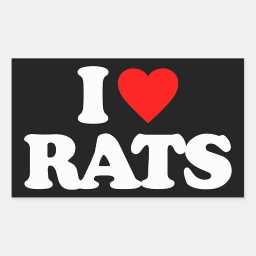 I LOVE RATS RECTANGULAR STICKER