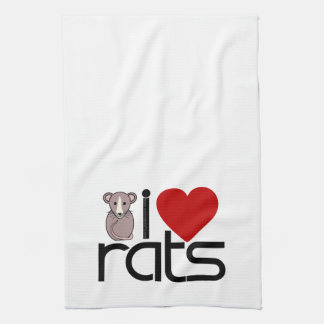 I Love Rats Tea Towel