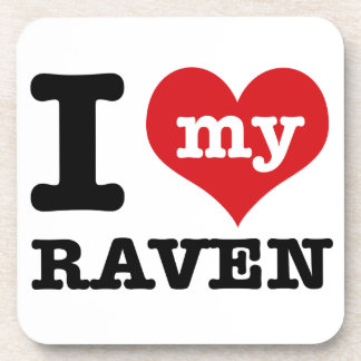 I Love Raven Drink Coasters