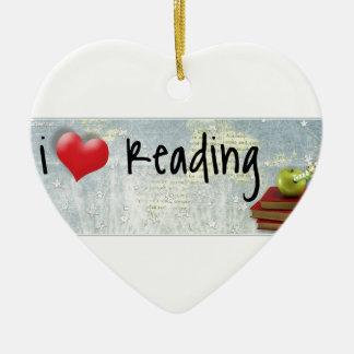 I Love Reading Ceramic Heart Decoration