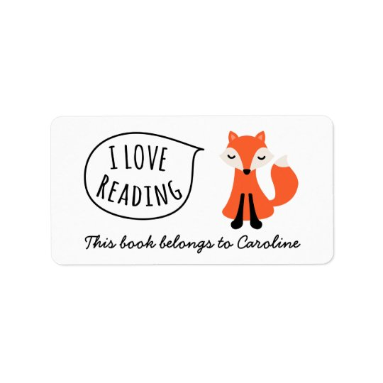 I love reading cute cartoon fox bookplate book