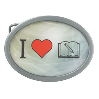 I Love Reading Guest Books Oval Belt Buckles