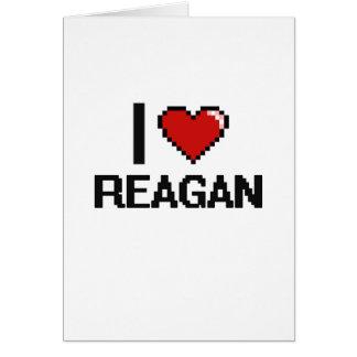I Love Reagan Digital Retro Design Greeting Card