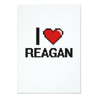 I Love Reagan Digital Retro Design 5x7 Paper Invitation Card