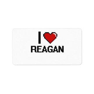 I Love Reagan Digital Retro Design Address Label