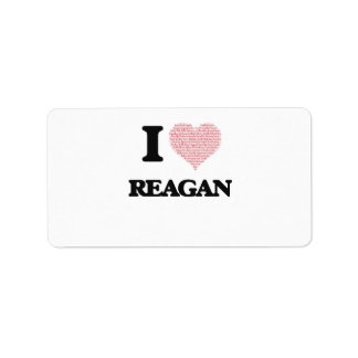 I love Reagan (heart made from words) design Address Label