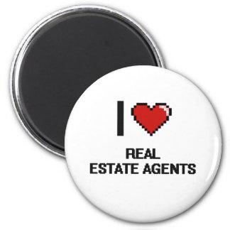 I love Real Estate Agents 6 Cm Round Magnet