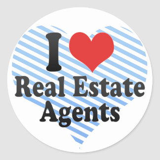 I Love Real Estate Agents Round Stickers