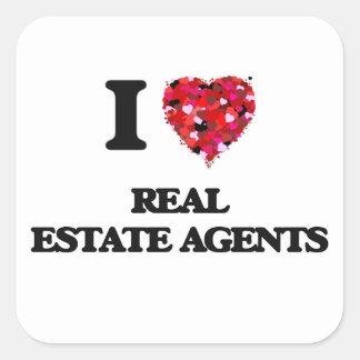 I love Real Estate Agents Square Sticker