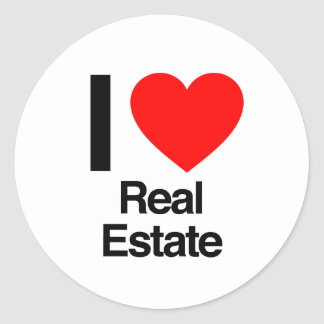 i love real estate round sticker