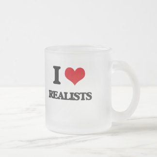 I Love Realists Frosted Glass Mug