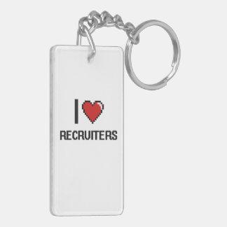 I love Recruiters Double-Sided Rectangular Acrylic Key Ring
