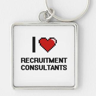 I love Recruitment Consultants Silver-Colored Square Key Ring