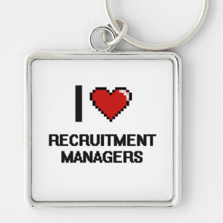 I love Recruitment Managers Silver-Colored Square Key Ring