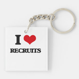 I Love Recruits Double-Sided Square Acrylic Keychain