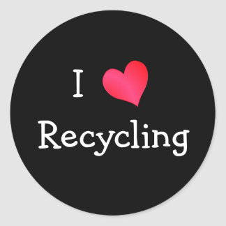 I Love Recycling Round Sticker