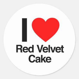 i love red velvet cake round sticker