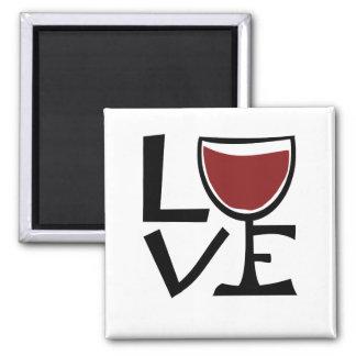 I love red wine drinker square magnet
