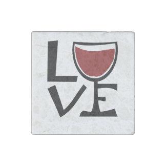 I love red wine drinker stone magnet