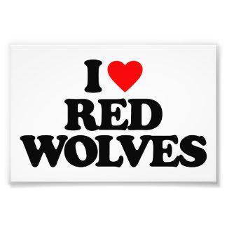 I LOVE RED WOLVES ART PHOTO