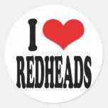 I Love Redheads Round Sticker