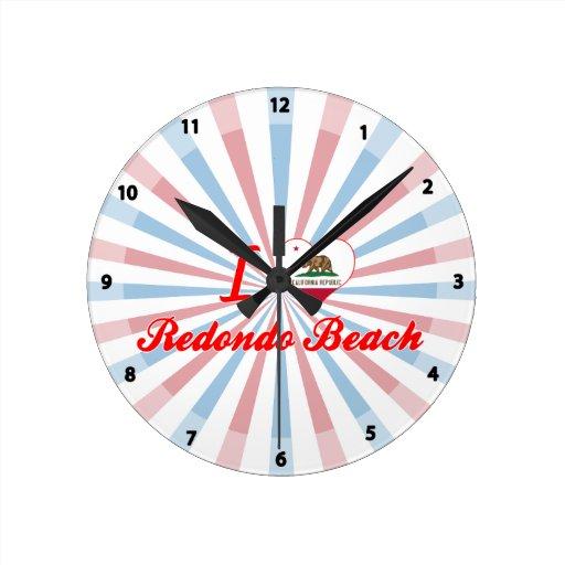 I Love Redondo Beach, California Round Clocks