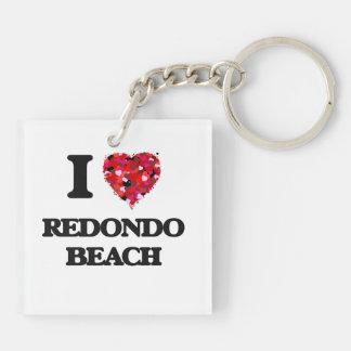 I love Redondo Beach California Double-Sided Square Acrylic Key Ring