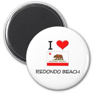I Love REDONDO BEACH California 6 Cm Round Magnet
