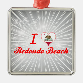 I Love Redondo Beach, California Silver-Colored Square Decoration
