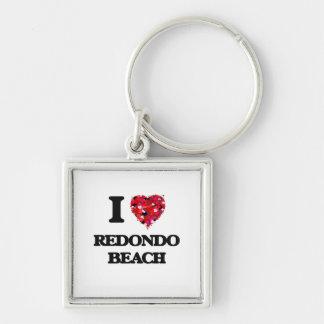 I love Redondo Beach California Silver-Colored Square Key Ring