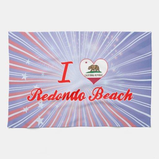 I Love Redondo Beach, California Hand Towels