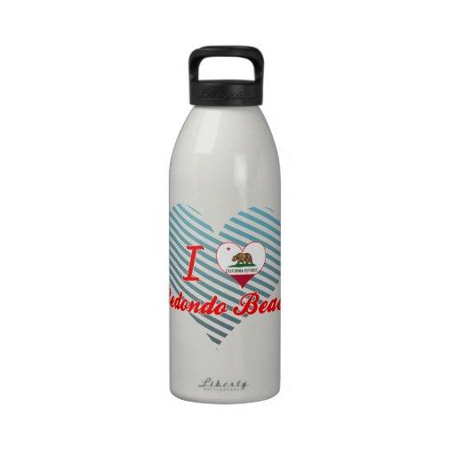 I Love Redondo Beach, California Water Bottles