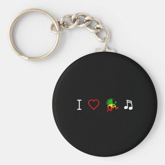 I Love Reggae Music Basic Round Button Key Ring