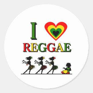 I Love Reggae Round Sticker
