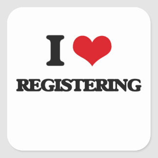 I Love Registering Square Sticker