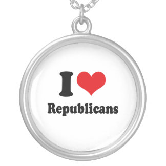 I LOVE REPUBLICANS ROUND PENDANT NECKLACE