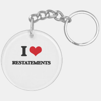 I Love Restatements Double-Sided Round Acrylic Keychain