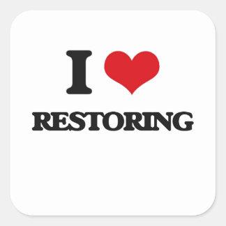 I Love Restoring Square Sticker
