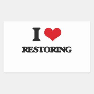 I Love Restoring Rectangular Sticker